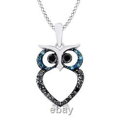 0.06 Ct Blue & Black Diamond Accent Owl Necklace 14K White Gold Over Sterling