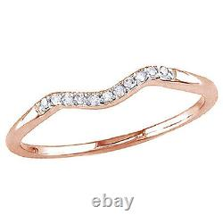 0.06 Cttw Round Diamond Accents Curved Wedding Band Ring 10K Solid Rose Gold