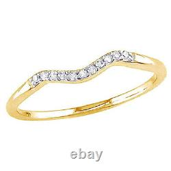 0.06 Cttw Round Diamond Accents Curved Wedding Band Ring 10K Solid Yellow Gold