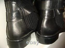 $1000 Gucci Black Boots Shoes Gold Accents Leather Sweater Size 39.5 = 9 US