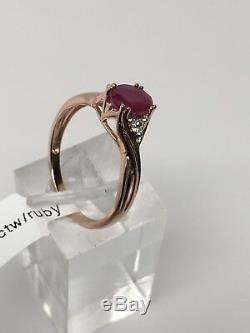 10K Rose Gold Natural Ruby and Diamond Accent Ring Oval Shape Size 7 New