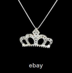 10K White Gold Princess Crown Slide Pendant Necklace with Diamond Accent 16