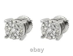 10K White Gold Solitaire Accent 6MM Halo Flower Diamond Stud Earring 1/2CT