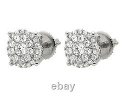 10K White Gold Solitaire Accent 8MM Halo Flower Round Diamond Stud Earring 1CT