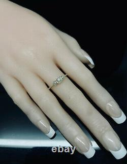 10K Yellow Gold 0.35ctw G-VS2 Round 3-Stone & Accents Diamond Engagement Ring 7