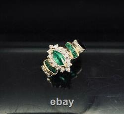 10K Yellow Gold 1.00ctw Natural Green Emerald & Diamond Accents Cocktail Ring 5