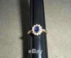 10K Yellow Gold Oval Cut Tanzanite Solitaire White Topaz Accent Ring Sz 8.75