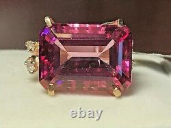 10k Gold 32.86 Carat Natural Pink Topaz & Accent Statement Ring 6.99 Gr+ring Box