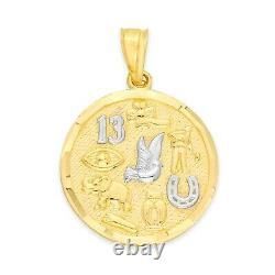 10k Gold Lucky Charm Round Pendant with White Gold Accents Luck Necklace