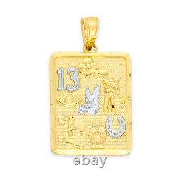 10k Gold Lucky Charm Square Pendant with White Gold Accents Luck Necklace
