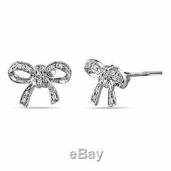 10k White Gold Accent Diamond Bow Butterfly Earrings 0.05 Ct Cttw H-I I2-I3