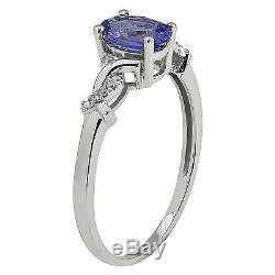 10k White Gold Genuine Oval Tanzanite and Braided Diamond Accent Ring