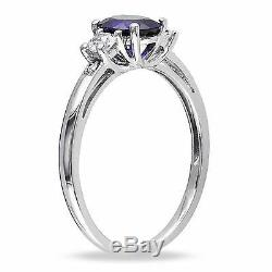 10k White Gold Oval Created Blue & White Sapphire & Diamond-Accent 3-stone Ring