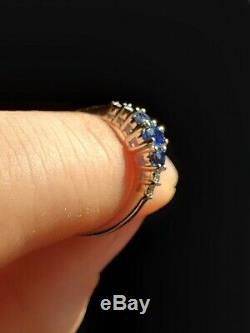 10k White Gold Ring with 3 Genuine Blue Sapphires and 4 Diamond Accents
