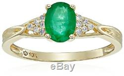 10k Yellow Gold Genuine Emerald Diamond Accent Engagement Ring, Sz 7