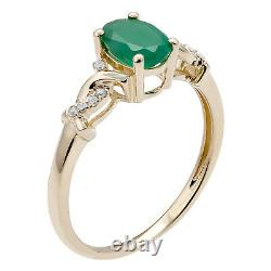 10k Yellow Gold Oval Emerald and Braided Diamond Accent Ring