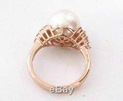 11mm White Pink Pearl with Diamond Accents Solitaire Ring 14kt Rose Gold Size 7
