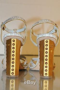 $1350 New Chanel Blue Python Gold Accent Pearl Heels CC Logo Sandals Shoes 37 41