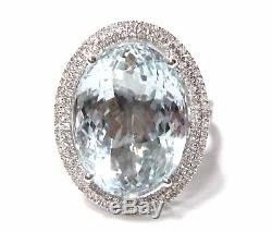 13.20 TCW Oval Light Blue Aquamarine with Diamond Accents Ring Size 7 14k Gold