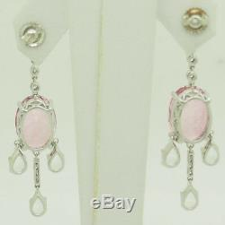 14K Gold 15.00ctw Pink Tourmaline withWhite Sapphire Accents Chandelier Earrings