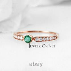 14K Gold Genuine Emerald With Diamond Accents Wedding Band Ring Fine Jewelry
