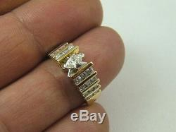 14K MARQUISE DIAMOND ENGAGEMENT RING 14 KARAT GOLD 0.85 Ct WITH DIAMOND ACCENT