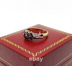 14K Solid Yellow Gold, Genuine Ruby and Diamond Accent Ring