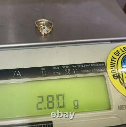 14K Solid Yellow Gold Solitaire With Accents Ring Natural Diamond &Opal(2.80GM)