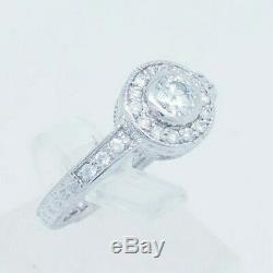 14K White Gold 1.00ctw G-SI2 Round Natural Diamond Halo Accents Engagement Ring