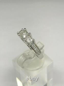 14K White Gold 1.50ctw Princess Cut 3-Stone withAccents Diamond Engagement Ring sz