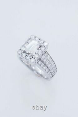 14K White Gold 2.00ctw G-VS Emerald Solitaire withRound Accents Engagement Ring 6