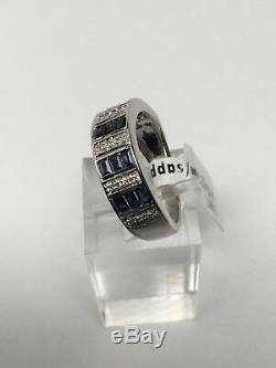 14K White Gold Baguette Sapphire and Diamond Accent Channel Band Ring Size 7