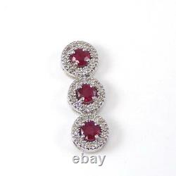 14K White Gold Natural Red Ruby Diamond Accent Linear Triple Halo Pendant LHI2