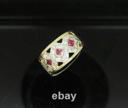 14K Yellow Gold 0.60ctw Princess Red Ruby & CZ Accents Filigree Cocktail Ring 7