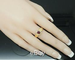 14K Yellow Gold 0.70ctw Oval Red Ruby & Diamond Accents Cocktail Ring 6