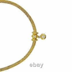 14K Yellow Gold 0.75Ct Diamond Solitaire Stone Necklace With Top Accent