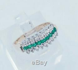 14K Yellow Gold 1.00ctw Round Natural Diamond withGreen Emerald Accents Band Ring