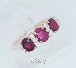 14K Yellow Gold 1.20ctw Oval Red Ruby withNatural Diamond Accents Band Ring 6.5