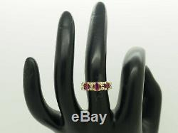 14K Yellow Gold 1.25ctw Oval Red Ruby withNatural Diamond Accents Band Ring 6.25