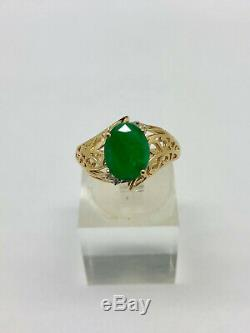 14K Yellow Gold 2ct Natural Green Emerald 0.05cttw Diamond Accents Ring Sz 7.75