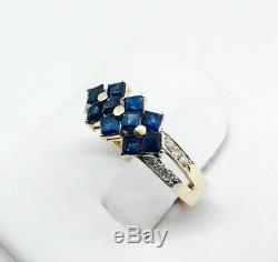 14K Yellow Gold Genuine Blue Sapphire Ring With Diamond Accents
