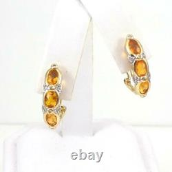 14K Yellow Gold Orange Citrine Diamond Accent French Clip Earrings LHH2