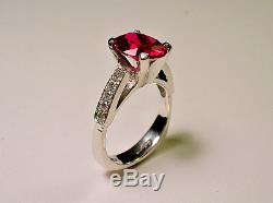 14 Kt White Gold 10x8 Oval Cut Ruby Ring With Accent Diamonds Size 7