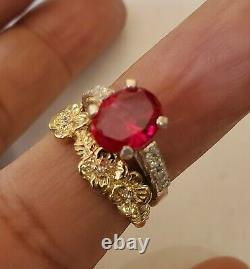 14 Kt White Gold Princess Cut Ruby Ring With Accent Diamonds Size 6