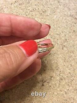 14 Kt Yellow Gold Aquamarine Three Stone Ring with Accent Stones Size 7.5