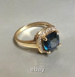 14 Kt Yellow Gold London Blue Topaz with Diamond Accents Size 6