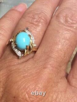 14 Kt Yellow Gold Turquoise Ring with Diamond Accents NWOT Size 7.25
