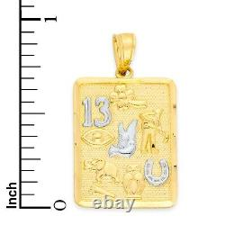 14k Gold Lucky Charm Square Pendant with White Gold Accents Luck Necklace