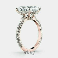 14k Hallmark Rose Gold 4 TCW Oval & Round Diamond Solitaire With Accents Ring