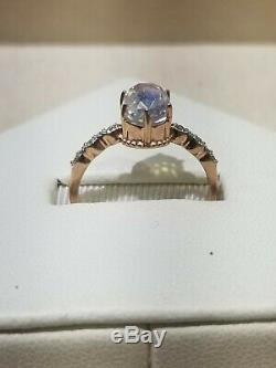 14k Rose Gold natural Moonstone With Diamond accent Ring